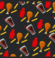 seamless pattern fast food unhealthy vector image
