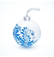 White Christmas ball with blue gzhel floral vector image