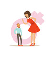 giant woman in a red dress threatening a tiny man vector image
