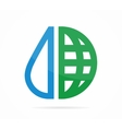 logo combination of a water drop and earth vector image