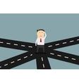 Businessman on crossroad choosing direction vector image