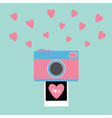 Camera Instant photo Flat design style Pink hearts vector image