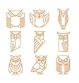 Owl line logos emblems and labels set vector image