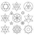 Sacred geometry symbols elementsBlack outline vector image