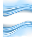 blue silky waves borders vector image
