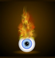 burning blue eye with fire flame vector image
