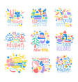 happy kid holiday happy new year logo template vector image