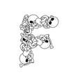 letter f skeleton bones font anatomy of an vector image