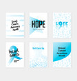 set of breast cancer awareness banners with blue vector image
