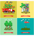 set of fire posters in flat style vector image