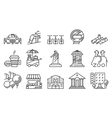 thin locations and city icons set vector image vector image