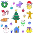 Christmas set of doodle vector image