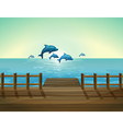 Six dolphins diving vector image vector image