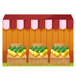 A fruitstand selling pineapples with empty vector image