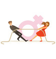 man and woman in red dress pulling a rope vector image