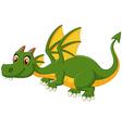 Cartoon green dragon flying vector image