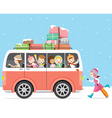Children Happy To Travel By Bus vector image