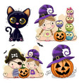 set of halloween cards with two girls vector image