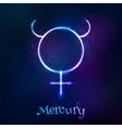 Shining blue neon zodiac Mercury symbol vector image