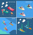 water sports people icon set vector image