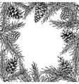 Fir tree and pine cone hand drawn square vector image