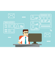 Businessman interactions by social media vector image