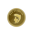 Fly Fishing Gold Coin Retro vector image