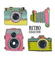 Retro photo cameras set Vintage cameras with vector image vector image