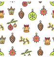 christmas pattern toys bells vector image