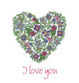 greeting card with hand-drawn floral heart vector image