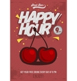 Happy Hour Poster For Advertising Cherry vector image