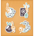 Music design paper cut elements vector image
