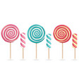 round pink lollipop set cream marshmallow vector image