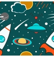 Seamless pattern with outer space rocket comet vector image