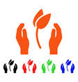 sprout care hands icon vector image