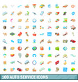100 autoservice icons set cartoon style vector image