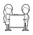 caricature thick contour faceless full body couple vector image