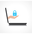 hand holding lock comes from laptop screen vector image vector image