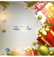 Christmas background with fir twigs gifts and vector image vector image