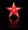 Red star on black background vector image vector image