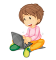 a girl and laptop vector image