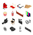 cinema color icons set isometric view vector image