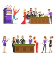 Gamblers In Chic Casino In Vegas Playing Cards vector image