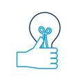 hand holding bulb creativity innovation concept vector image