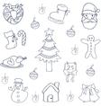 Christmas set flat of doodles vector image