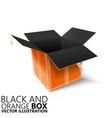 black and orange open box 3d vector image