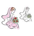 Beautiful woman in bridal dress vector image vector image