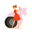 man and woman in red dress with spanner and tire vector image