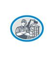 Builder Construction Worker Mechanical Digger Oval vector image vector image