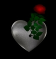 flower and stone heart vector image
